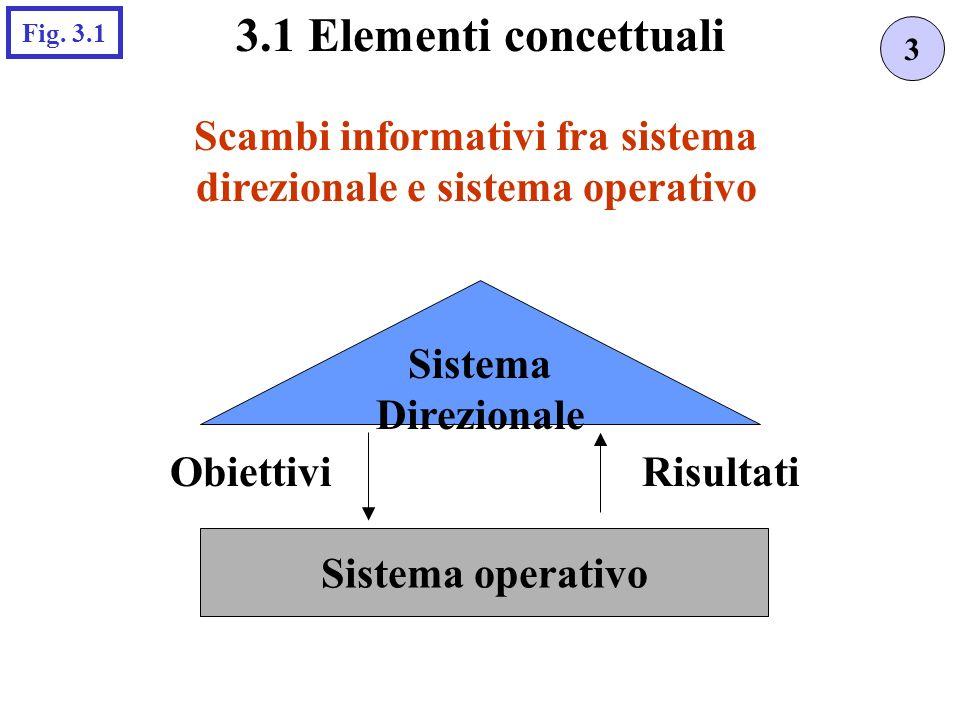 Scambi informativi fra sistema direzionale e sistema operativo Sistema Direzionale Sistema operativo ObiettiviRisultati 3 3.1 Elementi concettuali Fig.
