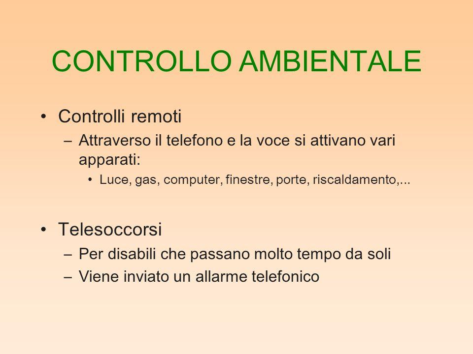 CONTROLLO AMBIENTALE Controlli remoti –Attraverso il telefono e la voce si attivano vari apparati: Luce, gas, computer, finestre, porte, riscaldamento,...