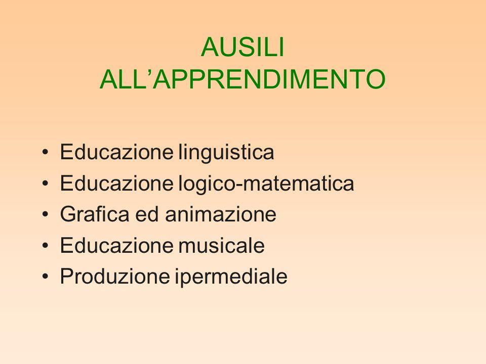 AUSILI ALLAPPRENDIMENTO Educazione linguistica Educazione logico-matematica Grafica ed animazione Educazione musicale Produzione ipermediale