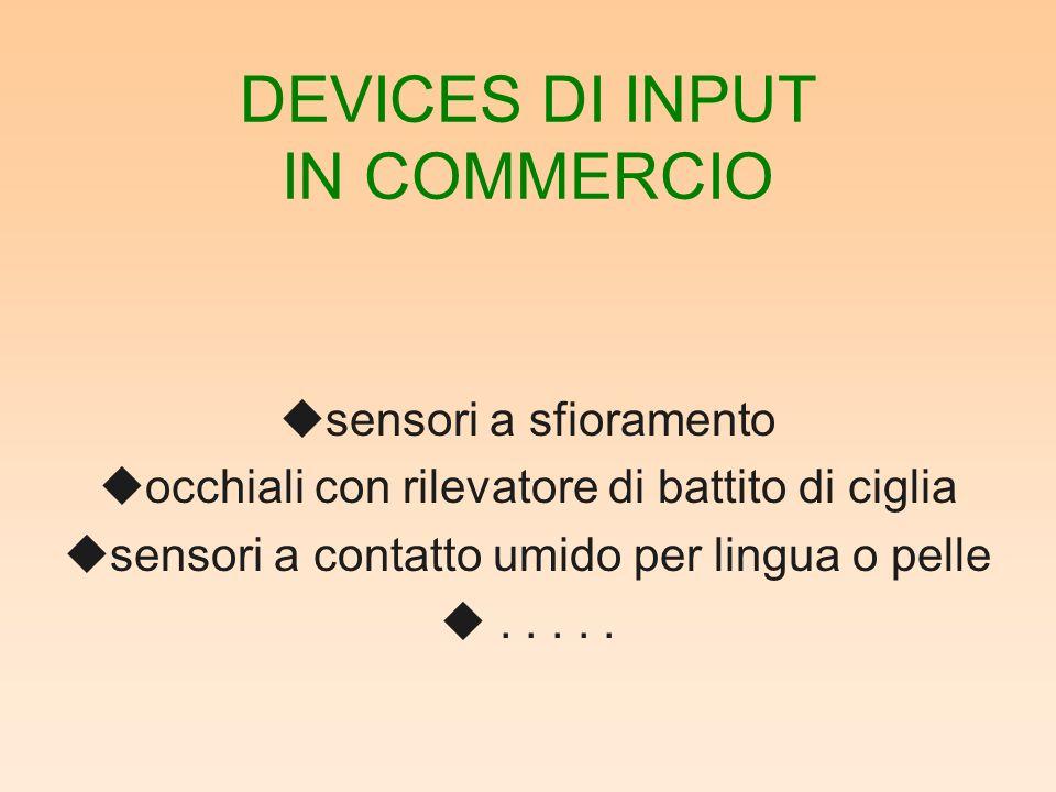 DEVICES DI INPUT IN COMMERCIO usensori a sfioramento uocchiali con rilevatore di battito di ciglia usensori a contatto umido per lingua o pelle u.....