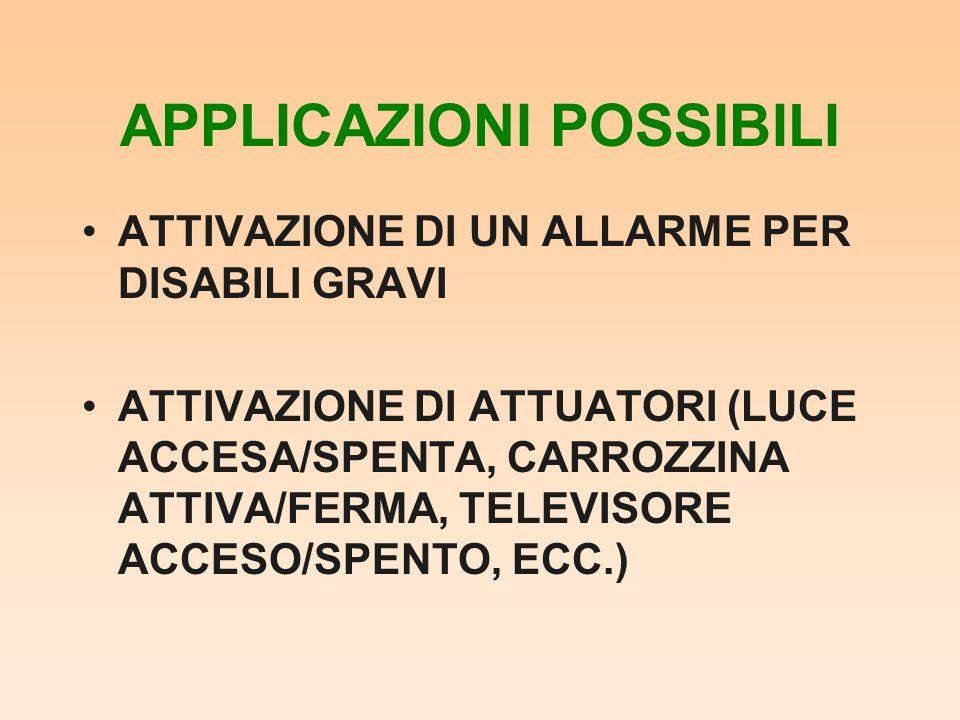 APPLICAZIONI POSSIBILI ATTIVAZIONE DI UN ALLARME PER DISABILI GRAVI ATTIVAZIONE DI ATTUATORI (LUCE ACCESA/SPENTA, CARROZZINA ATTIVA/FERMA, TELEVISORE ACCESO/SPENTO, ECC.)