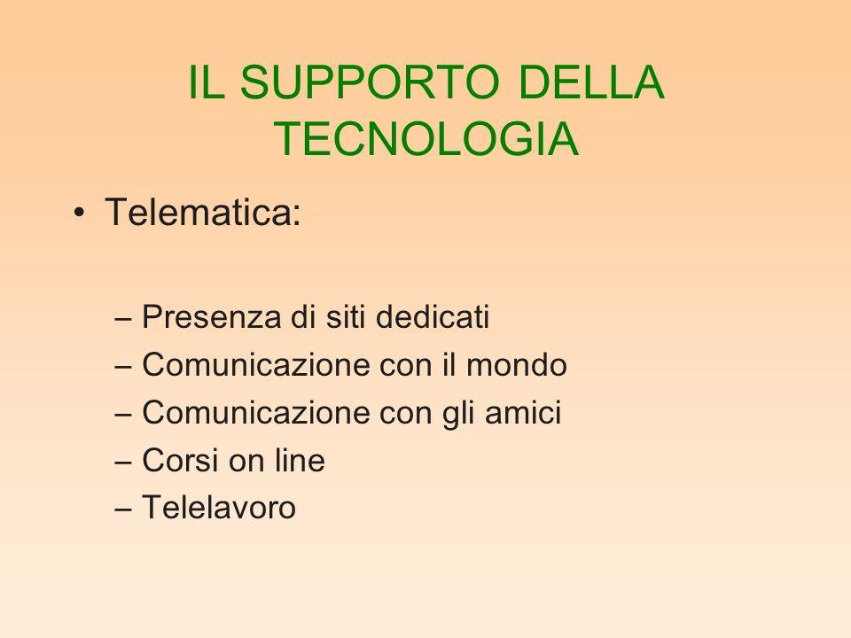 IL SUPPORTO DELLA TECNOLOGIA Telematica: –Presenza di siti dedicati –Comunicazione con il mondo –Comunicazione con gli amici –Corsi on line –Telelavoro
