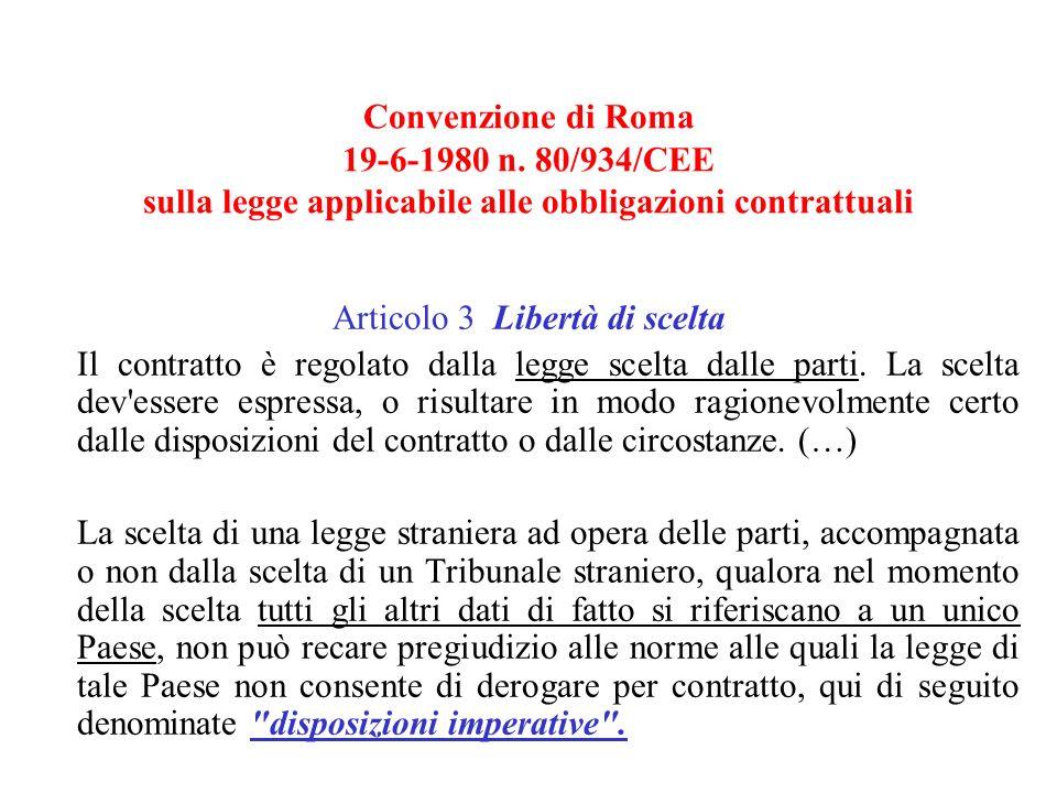 Convenzione di Roma 19-6-1980 n.