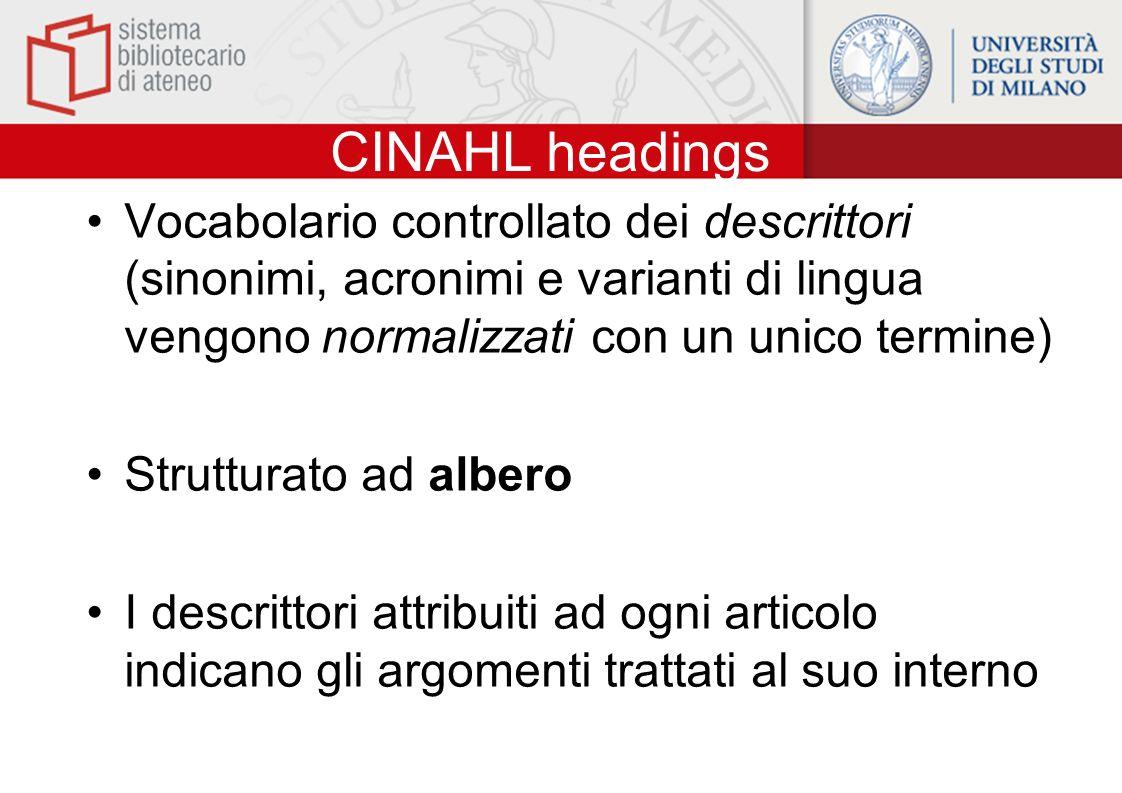 CINAHL headings Vocabolario controllato dei descrittori (sinonimi, acronimi e varianti di lingua vengono normalizzati con un unico termine) Strutturato ad albero I descrittori attribuiti ad ogni articolo indicano gli argomenti trattati al suo interno