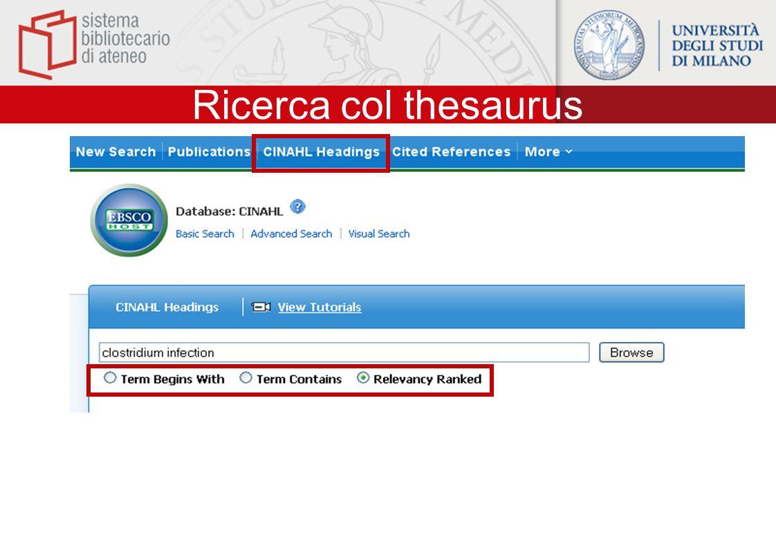 Ricerca col thesaurus