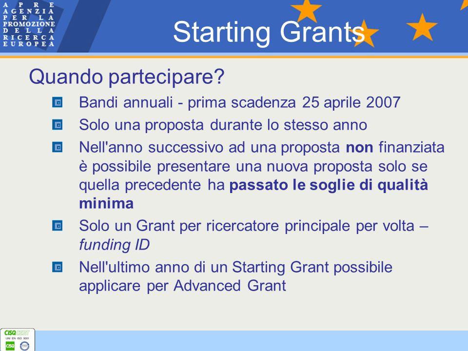 Quando partecipare? Bandi annuali - prima scadenza 25 aprile 2007 Solo una proposta durante lo stesso anno Nell'anno successivo ad una proposta non fi