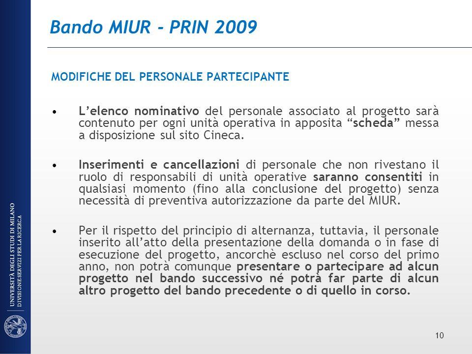 Bando MIUR - PRIN 2009 MODIFICHE DEL PERSONALE PARTECIPANTE Lelenco nominativo del personale associato al progetto sarà contenuto per ogni unità opera