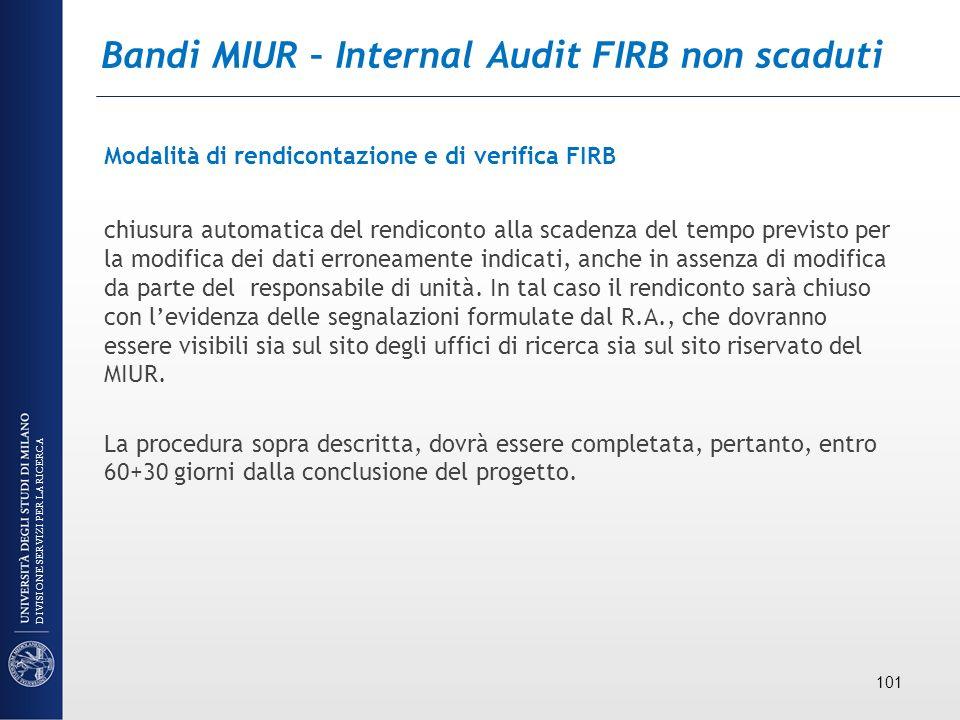 Bandi MIUR – Internal Audit FIRB non scaduti Modalità di rendicontazione e di verifica FIRB chiusura automatica del rendiconto alla scadenza del tempo