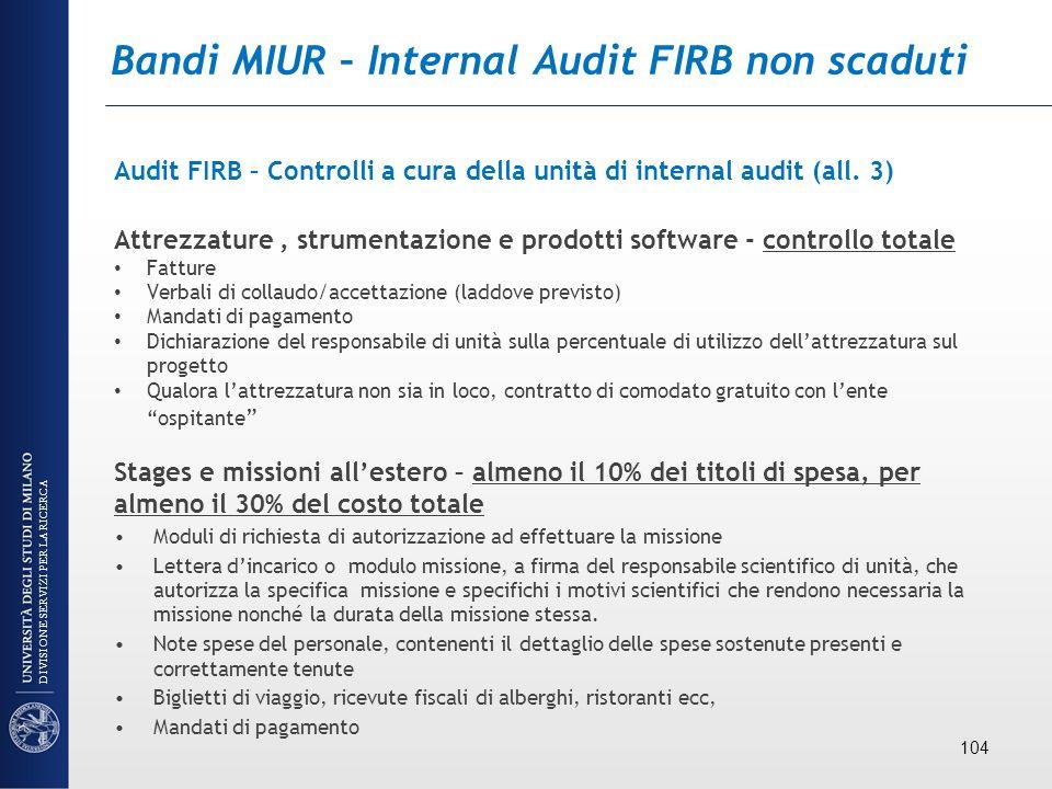 Bandi MIUR – Internal Audit FIRB non scaduti Audit FIRB – Controlli a cura della unità di internal audit (all. 3) Attrezzature, strumentazione e prodo