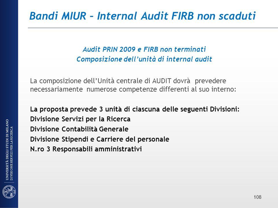 Bandi MIUR – Internal Audit FIRB non scaduti Audit PRIN 2009 e FIRB non terminati Composizione dellunità di internal audit La composizione dellUnità c