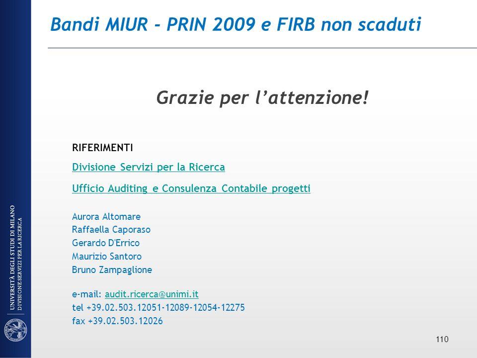 Bandi MIUR - PRIN 2009 e FIRB non scaduti Grazie per lattenzione! RIFERIMENTI Divisione Servizi per la Ricerca Ufficio Auditing e Consulenza Contabile
