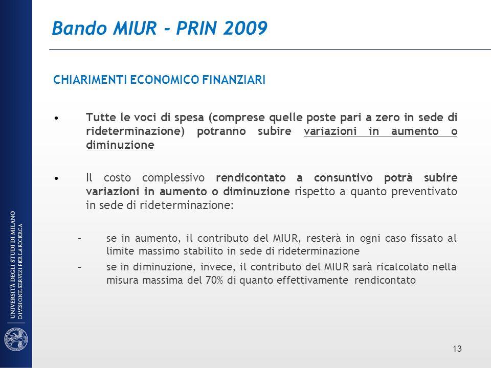 Bando MIUR - PRIN 2009 CHIARIMENTI ECONOMICO FINANZIARI Tutte le voci di spesa (comprese quelle poste pari a zero in sede di rideterminazione) potrann