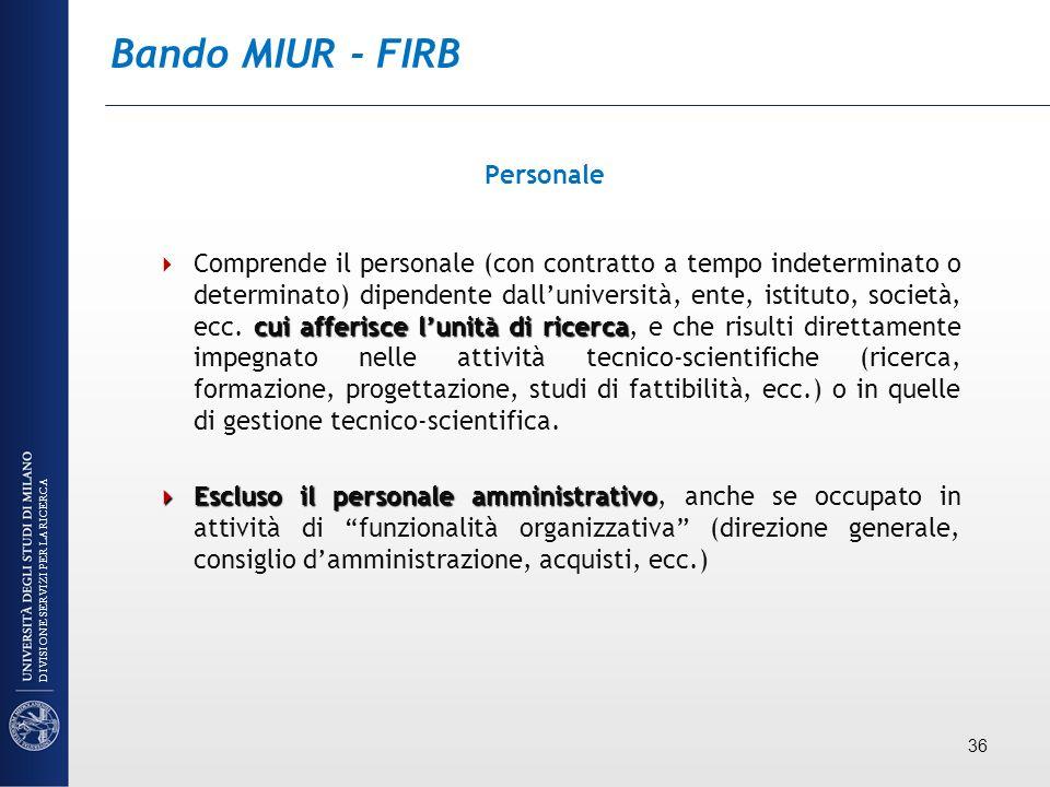Bando MIUR - FIRB Personale cui afferisce lunità di ricerca Comprende il personale (con contratto a tempo indeterminato o determinato) dipendente dall