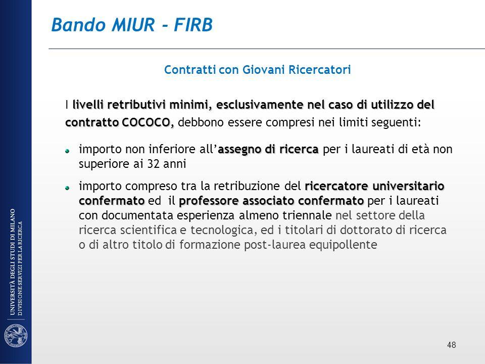 Bando MIUR - FIRB Contratti con Giovani Ricercatori livelli retributivi minimi, esclusivamente nel caso di utilizzo del I livelli retributivi minimi,