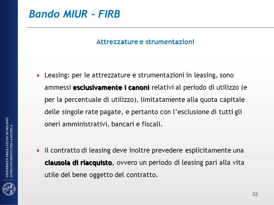 Bando MIUR - FIRB Attrezzature e strumentazioni esclusivamente i canoni Leasing: per le attrezzature e strumentazioni in leasing, sono ammessi esclusi