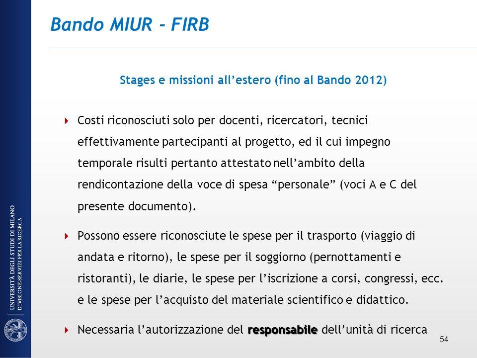 Bando MIUR - FIRB Stages e missioni allestero (fino al Bando 2012) Costi riconosciuti solo per docenti, ricercatori, tecnici effettivamente partecipan