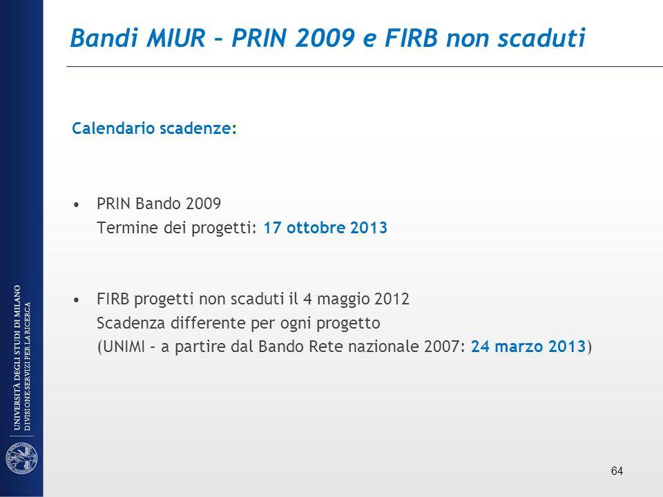 Bandi MIUR – PRIN 2009 e FIRB non scaduti Calendario scadenze: PRIN Bando 2009 Termine dei progetti: 17 ottobre 2013 FIRB progetti non scaduti il 4 ma