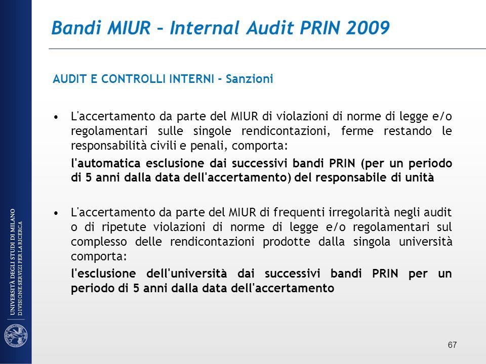 Bandi MIUR – Internal Audit PRIN 2009 AUDIT E CONTROLLI INTERNI - Sanzioni L'accertamento da parte del MIUR di violazioni di norme di legge e/o regola