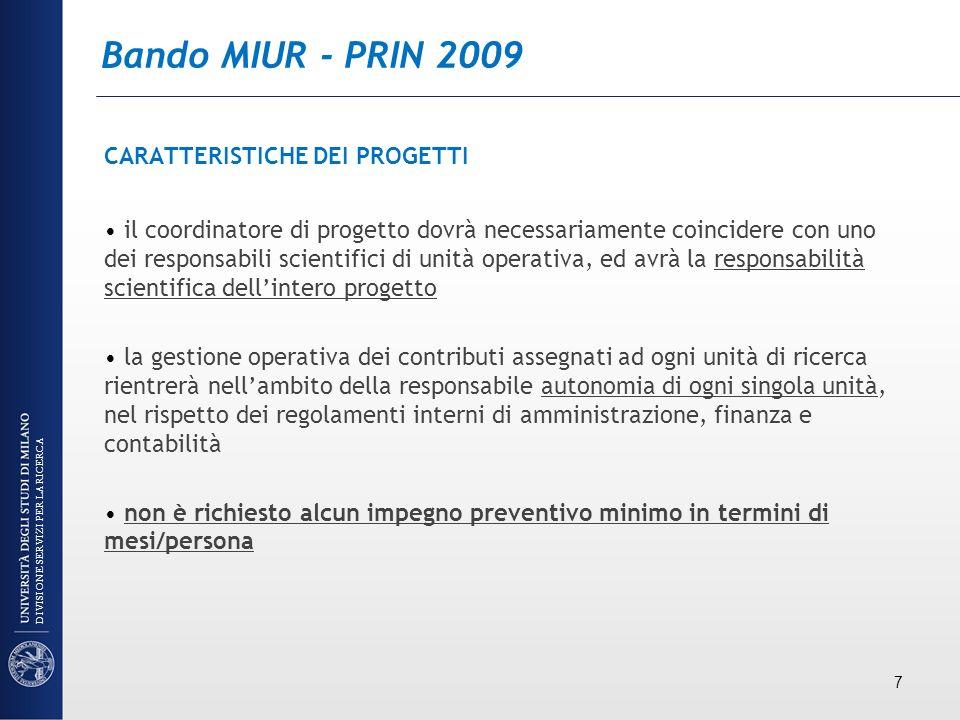 Bando MIUR - PRIN 2009 TRASFERIMENTO DEL RESPONSABILE U.O.