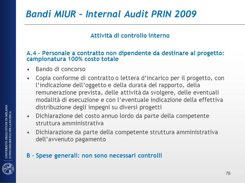 Bandi MIUR – Internal Audit PRIN 2009 Attività di controllo interno A.4 – Personale a contratto non dipendente da destinare al progetto: campionatura