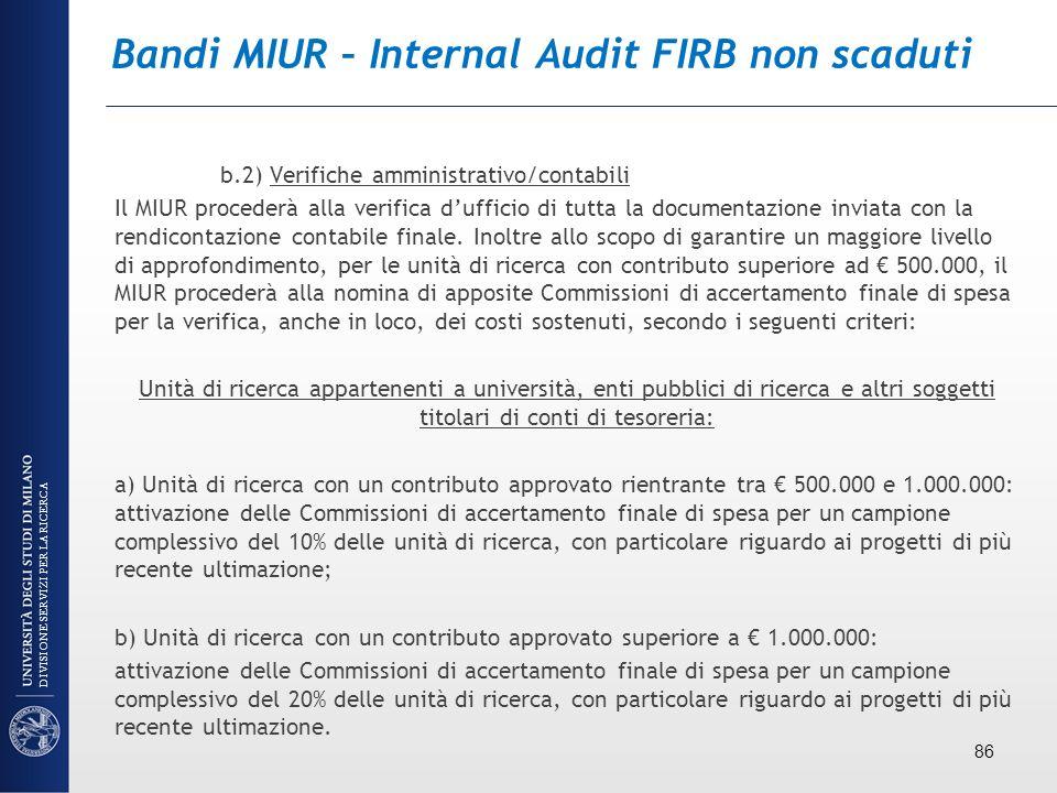 Bandi MIUR – Internal Audit FIRB non scaduti b.2) Verifiche amministrativo/contabili Il MIUR procederà alla verifica dufficio di tutta la documentazio