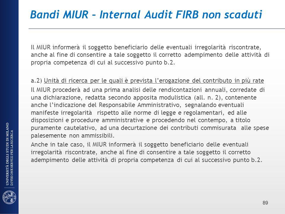 Bandi MIUR – Internal Audit FIRB non scaduti Il MIUR informerà il soggetto beneficiario delle eventuali irregolarità riscontrate, anche al fine di con
