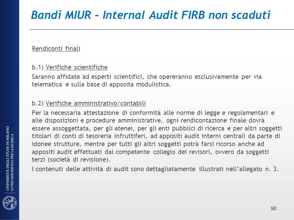 Bandi MIUR – Internal Audit FIRB non scaduti Rendiconti finali b.1) Verifiche scientifiche Saranno affidate ad esperti scientifici, che opereranno esc