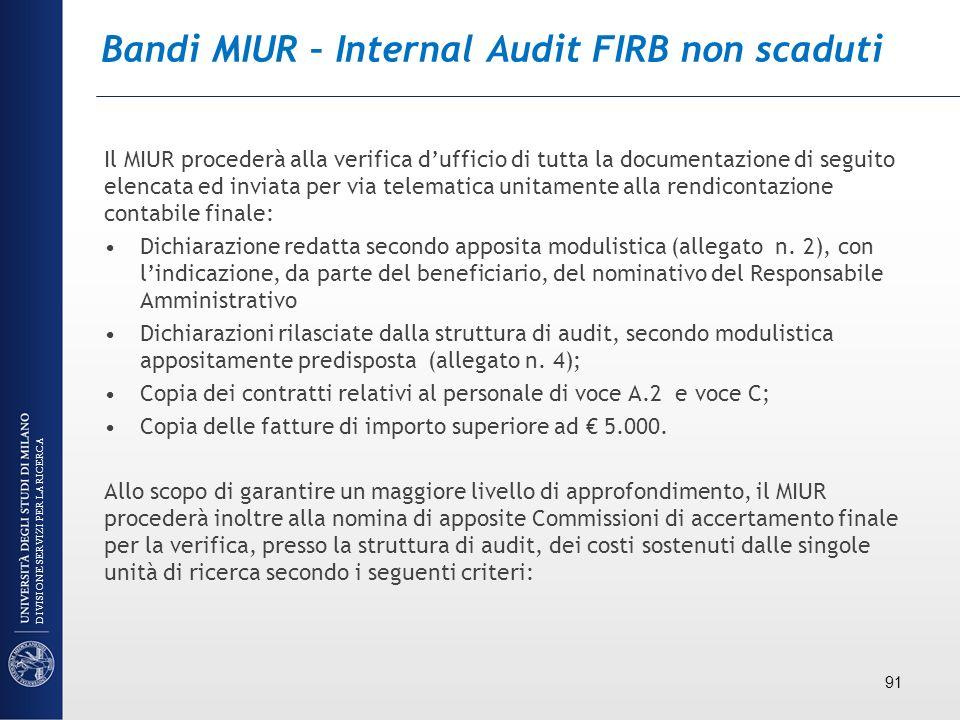 Bandi MIUR – Internal Audit FIRB non scaduti Il MIUR procederà alla verifica dufficio di tutta la documentazione di seguito elencata ed inviata per vi