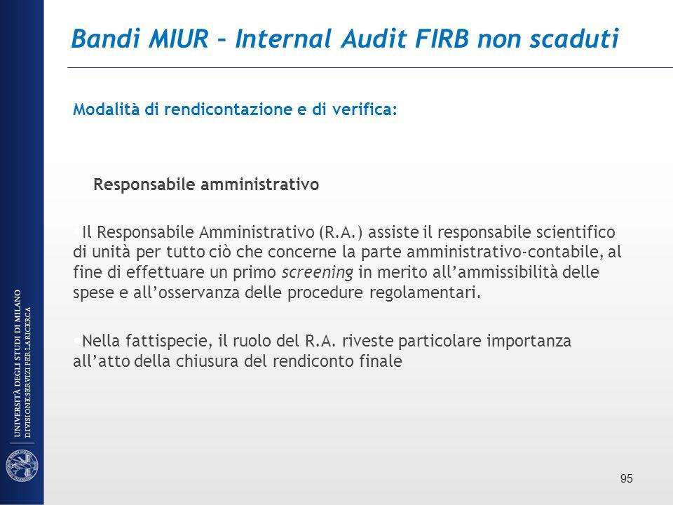 Bandi MIUR – Internal Audit FIRB non scaduti Modalità di rendicontazione e di verifica: Responsabile amministrativo Il Responsabile Amministrativo (R.