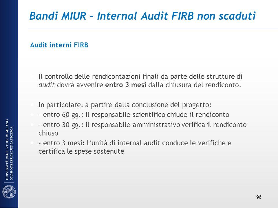 Bandi MIUR – Internal Audit FIRB non scaduti Audit interni FIRB Il controllo delle rendicontazioni finali da parte delle strutture di audit dovrà avve