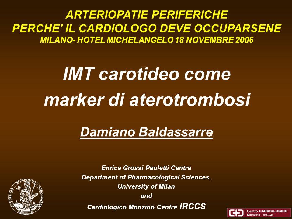 0 0.2 0.4 0.6 0.8 1 1.2 1.4 00.511.522.5 IVUS (–) IVUS(+) Usando questo valore soglia nel grafico di correlazione tra IMT coronarico e IMT carotideo di pazienti con una diagnosi angiografica di assenza di aterosclerosi o di aterosclerosi intermedia Gruppo-A: %DS Max =0-40 Gruppo-B: %DS Max =40-70 IMT Carotideo (mm) IMT coronarico (mm)