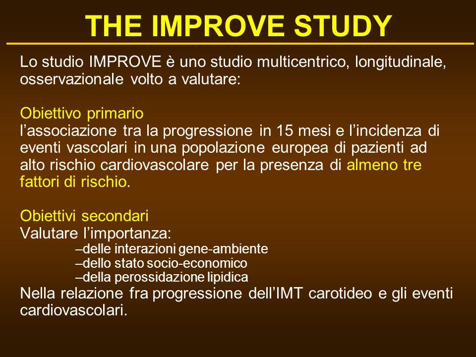 Lo studio IMPROVE è uno studio multicentrico, longitudinale, osservazionale volto a valutare: Obiettivo primario lassociazione tra la progressione in