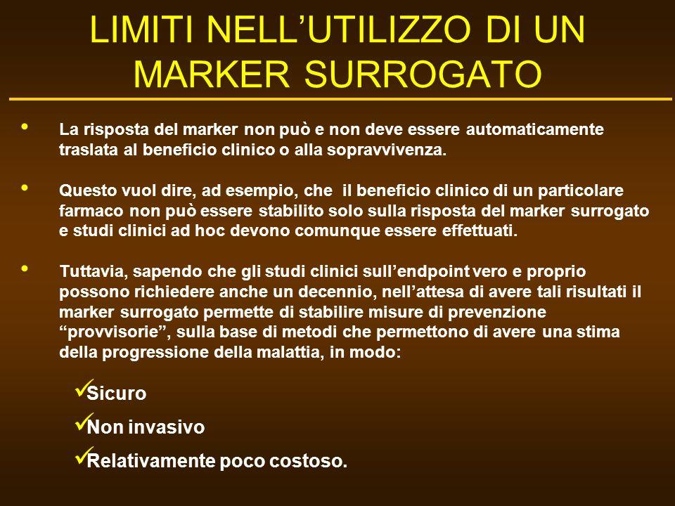 LIMITI NELLUTILIZZO DI UN MARKER SURROGATO La risposta del marker non può e non deve essere automaticamente traslata al beneficio clinico o alla sopra