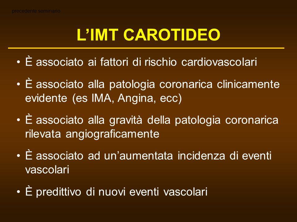 BY SPEARMAN CORRELATIONS r= 0.33; p=0.03r= 0.52; p<0.0002 ANGIOGRAFIA CORONARICA VS ULTRASONOGRAFIA CAROTIDEA Stenosi del lume vs IMT IVUS CORONARICO VS ULTRASONOGRAFIA CAROTIDEA IMT vs IMT CAROTIDI VS CORONARIE 0 0.5 1.0 1.5 0.53.05.5 Carotid Max-IMT (mm) Coronary Max-IMT (mm)