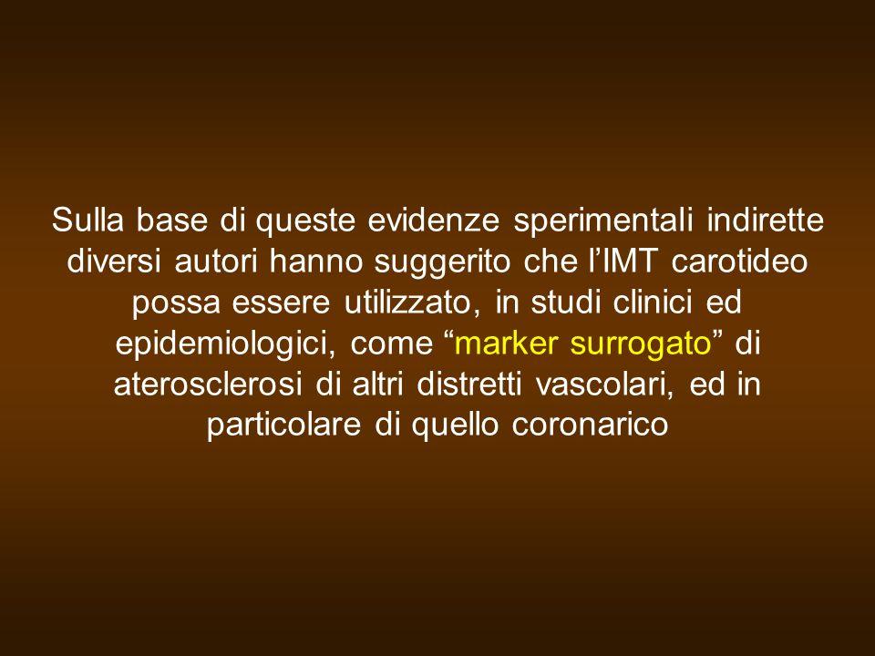 Max-MT< BTVMax-MT BTVMax-MT< BTVMax-MT BTV Incidenza stimata in base al FRS Incidenza effettivamente osservata in 5 anni di osservazione Incidenza di eventi cardiovascolari (%) Pazienti a rischio basso (FRS<10%) Pazienti a rischio intermedio (10%<FRS<20%) Soglia per il trattamento farmacologico 0 10 20 30 40 50 Quando abbiamo confrontato lincidenza di nuovi eventi cardiovascolari stimata sulla base del FRS con lincidenza effettivamente osservata in 5 anni di osservazione (stimata sulla base delle curve di sopravvivenza di Kaplan-Meyer) nei pazienti a rischio basso o intermedio stratificati in base alla presenza di valori di IMT bassi o alti Rapporto = 3.11 Baldassarre et al., Atherosclerosis 2006 May 6 [Epub ahed of print]