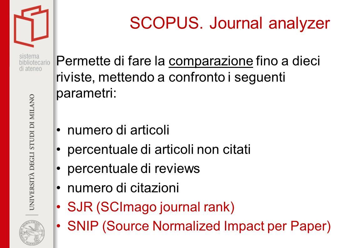 SCOPUS. Journal analyzer Permette di fare la comparazione fino a dieci riviste, mettendo a confronto i seguenti parametri: numero di articoli percentu