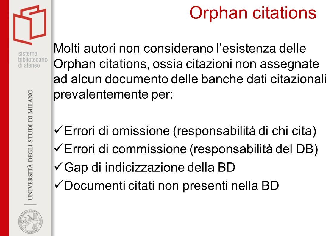 Orphan citations Molti autori non considerano lesistenza delle Orphan citations, ossia citazioni non assegnate ad alcun documento delle banche dati ci