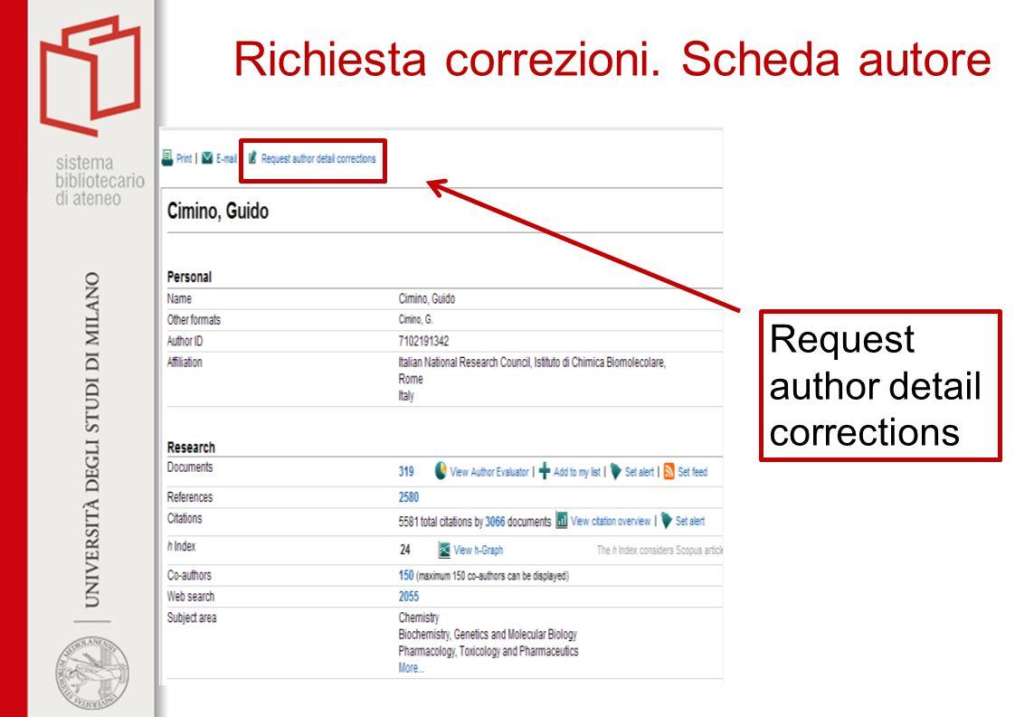 Richiesta correzioni. Scheda autore Request author detail corrections