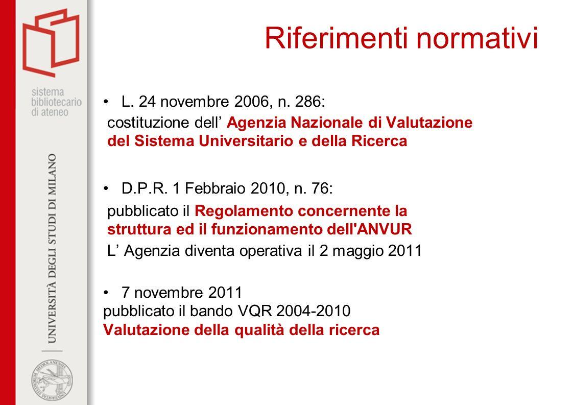 Riferimenti normativi L. 24 novembre 2006, n. 286: costituzione dell Agenzia Nazionale di Valutazione del Sistema Universitario e della Ricerca D.P.R.