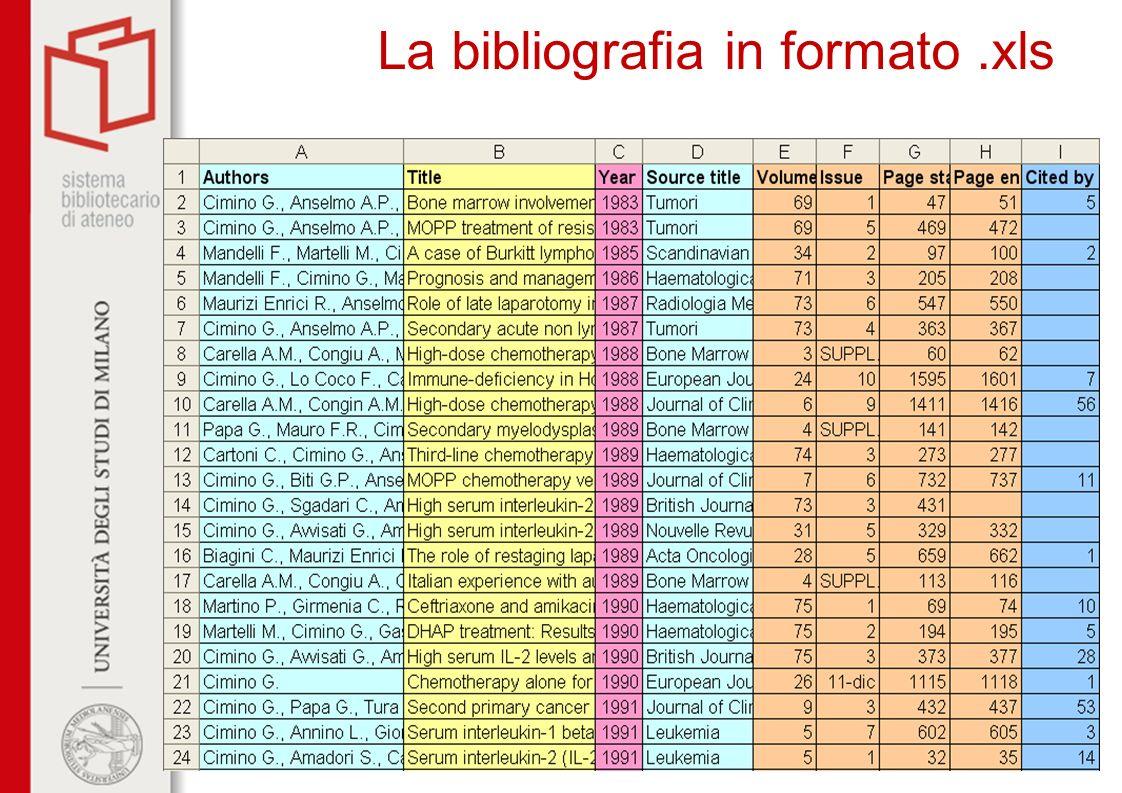 La bibliografia in formato.xls