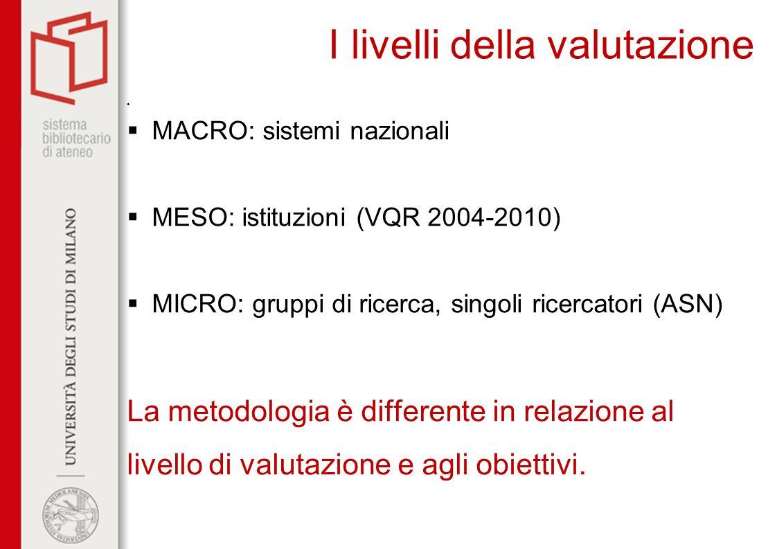 I livelli della valutazione MACRO: sistemi nazionali MESO: istituzioni (VQR 2004-2010) MICRO: gruppi di ricerca, singoli ricercatori (ASN) La metodolo