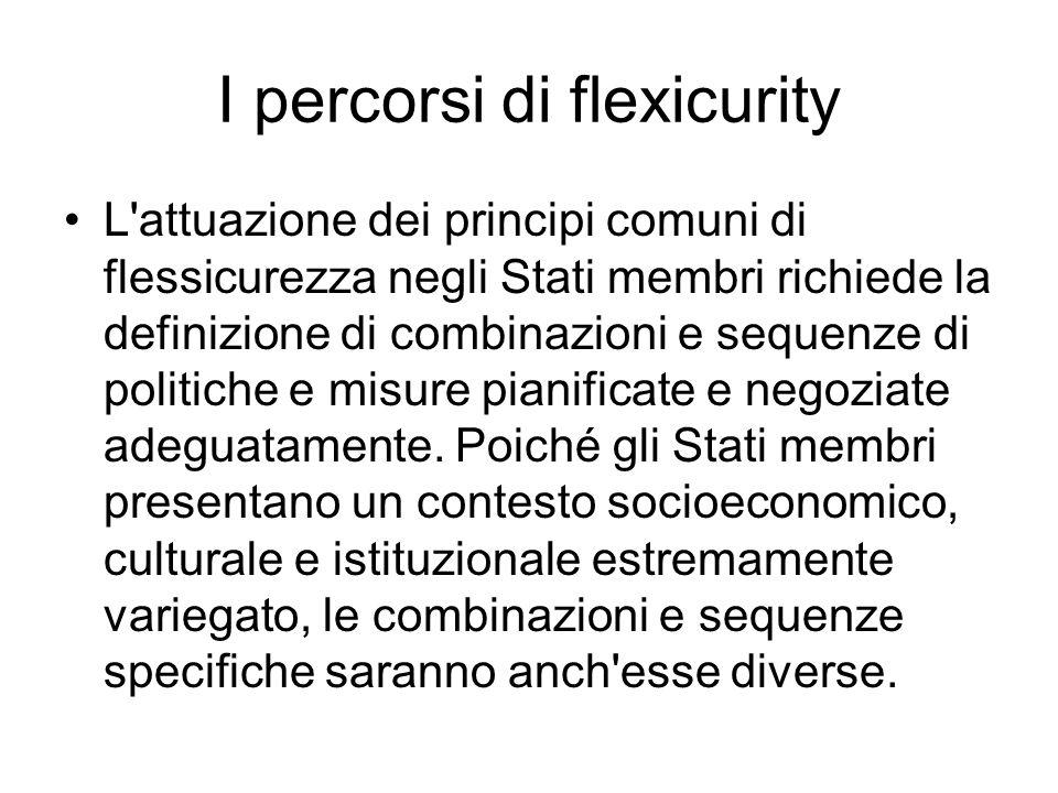 I percorsi di flexicurity L'attuazione dei principi comuni di flessicurezza negli Stati membri richiede la definizione di combinazioni e sequenze di p