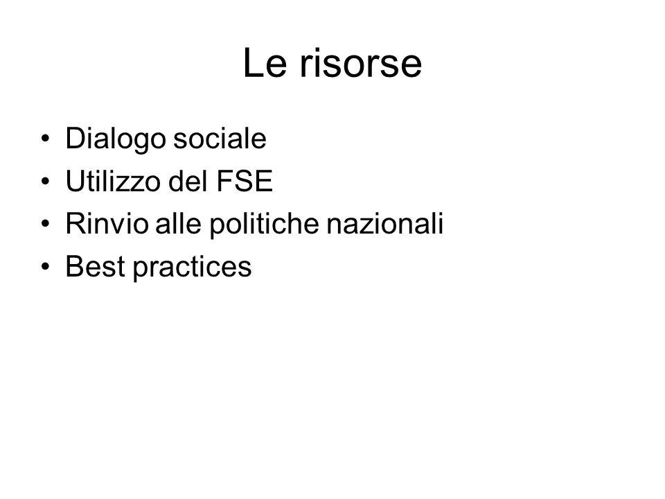 Le risorse Dialogo sociale Utilizzo del FSE Rinvio alle politiche nazionali Best practices