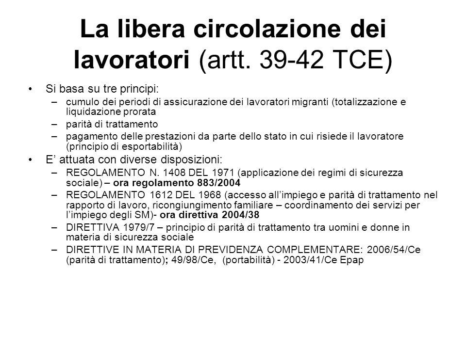 La libera circolazione dei lavoratori (artt. 39-42 TCE) Si basa su tre principi: –cumulo dei periodi di assicurazione dei lavoratori migranti (totaliz