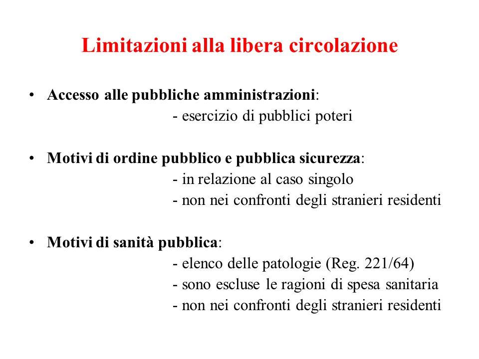 Limitazioni alla libera circolazione Accesso alle pubbliche amministrazioni: - esercizio di pubblici poteri Motivi di ordine pubblico e pubblica sicur