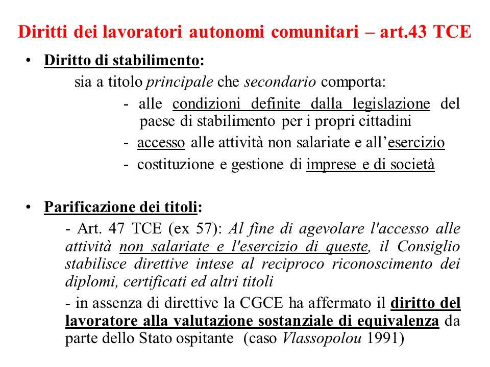 Diritti dei lavoratori autonomi comunitari – art.43 TCE Diritto di stabilimento: sia a titolo principale che secondario comporta: - alle condizioni de