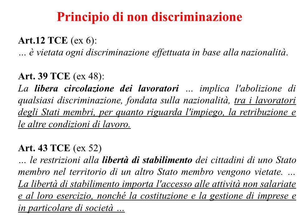 Principio di non discriminazione Art.12 TCE (ex 6): … è vietata ogni discriminazione effettuata in base alla nazionalità. Art. 39 TCE (ex 48): La libe