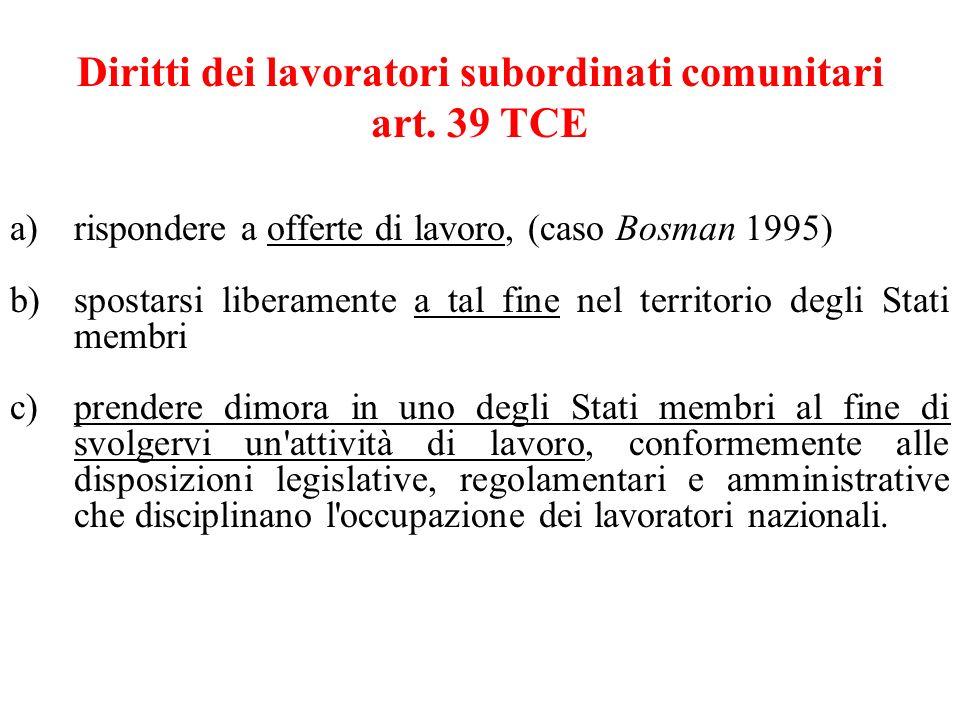 Diritti dei lavoratori subordinati comunitari art. 39 TCE a)rispondere a offerte di lavoro, (caso Bosman 1995) b)spostarsi liberamente a tal fine nel