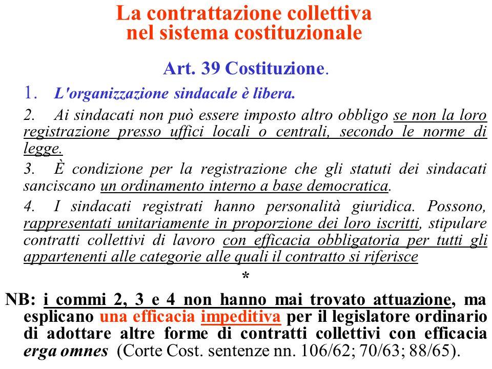 La contrattazione collettiva nel sistema costituzionale Art. 39 Costituzione. 1. L'organizzazione sindacale è libera. 2.Ai sindacati non può essere im