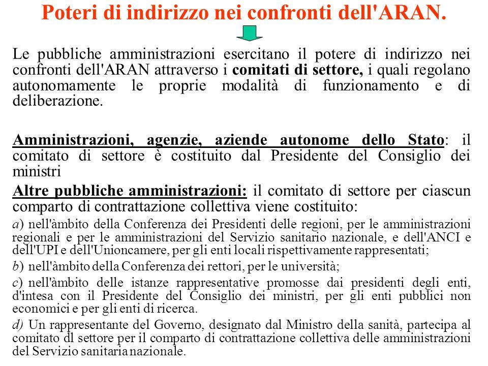 Poteri di indirizzo nei confronti dell'ARAN. Le pubbliche amministrazioni esercitano il potere di indirizzo nei confronti dell'ARAN attraverso i comit